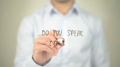 Do You Speak Italian ?  , man writing on transparent screen Stock Footage