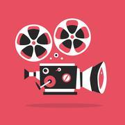 Retro movie projector poster. Cartoon vector illustration. Cinema motion picture - stock illustration