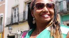 Brazilian local from Bahia in the old colonial district of Salvador, Brazil Stock Footage