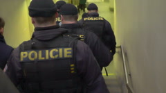 Police squad rushing to crime scene, responding to emergency call, live stream Stock Footage
