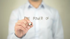 The Power Of Branding, man writing on transparent screen - stock footage