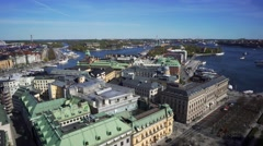 180 degrees aerial view of central Stockholm. Stock Footage