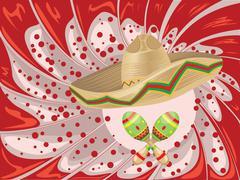 Sombrero and Maracas - stock illustration