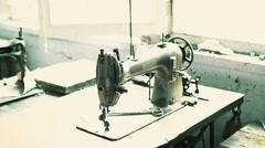 Old manual sewing machine in hand made shoe maker atelier  Stock Footage