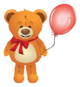 Teddy Bear with Red Bow - stock illustration