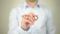 Home Work, man writing on transparent screen Stock Footage