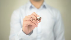 Cause, man writing on transparent screen Stock Footage