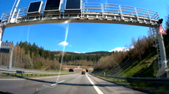 Driving in to tunnel on autobahn freeway point of view 4K Ultra HD Stock Footage