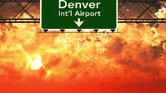 4K Passing Denver Airport USA Highway Sign in the Sunset - stock footage