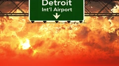 4K Passing Detroit Airport USA Highway Sign in the Sunset 1 Stock Footage