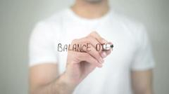 Balance Diet, man writing on transparent screen Stock Footage