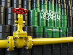 Oil pipe line valve in front of the Saudi Arabia flag on the oil barrels.  Ga Stock Illustration