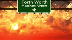 4K Passing Fort Worth Airport USA Highway Sign in the Sunset 1 Stock Footage