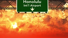 4K Passing Honolulu Airport USA Highway Sign in the Sunset Stock Footage