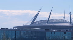 SAINT PETERSBURG: Construction of football stadium for 2018 FIFA World Cup - stock footage