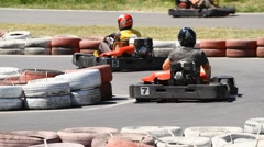 Race karting on the track Stock Footage