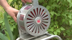 Hand-crank fire siren, nice and loud Stock Footage
