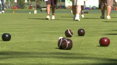 Sports and fitness, lawn bowling 8# swap sides Stock Footage