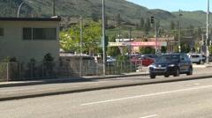 Transport truck in city traffic, medium shot Stock Footage
