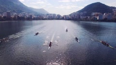 Aerial of rowers training for Olympics in Rio - stock footage