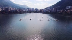 Aerial of rowers training for Olympics in Rio Stock Footage