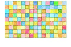 mixed tile wall drawn with color pencil - stock illustration