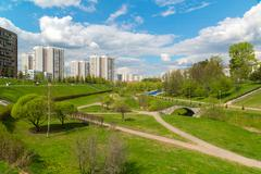 Boulevard in Zelenograd Administrative District of Moscow - stock photo