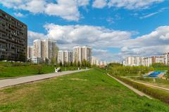 Moscow, Russia - May 06.2016. 16 districts of Zelenograd Administrative District Stock Photos