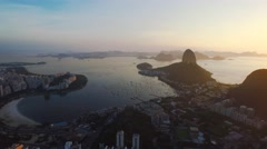 Aerial of beautiful Sugarloaf mountain and harbor in Rio De Janeiro Stock Footage