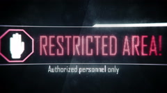 Restricted area, authorized personnel only screen text, system notification Stock Footage