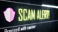 Scam alert, proceed with caution screen text, system message, notification Stock Footage