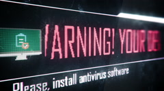 Your device appears to be infected, install antivirus software screen text - stock footage