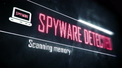 Spyware detected, found threats screen text, system message, notification Stock Footage
