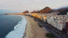 Aerial of beautiful Rio De Janeiro cityscape and beach Stock Footage