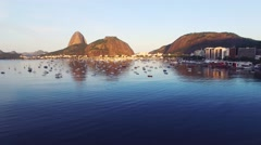 View of boats moored in harbor in Rio De Janeiro - stock footage