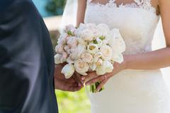 bridal bouquet of roses and tulips - stock photo