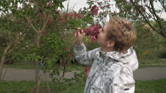 Pretty blond girl sniffing lilac flowers in park Stock Footage
