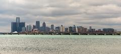 Long Panoramic Detroit Michigan River Downtown City Skyline Stock Photos