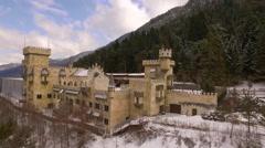Castle Austria aerial Pan around R to L Stock Footage