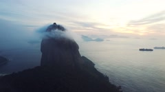 Aerial of Sugarloaf mountain and sea in Rio De Janeiro - stock footage