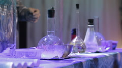 Chemical research laboratories. Flasks with liquid Stock Footage