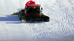 Machine for skiing slope preparation in action Stock Footage