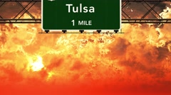 4K Passing Tulsa USA Interstate Highway Sign in the Sunset Stock Footage