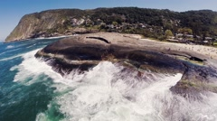 Aerial of beautiful sea and coastline in Rio De Janeiro Stock Footage