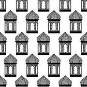 seamless of ramadan lantern - stock illustration