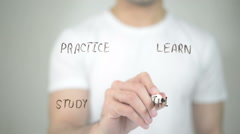 Learning, Concept Clip Art, man writing on transparent screen - stock footage