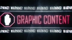 Graphic content, warning text on screen, system message, notification Stock Footage