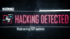 Hacking detected, warning screen text, system message, notification Stock Footage