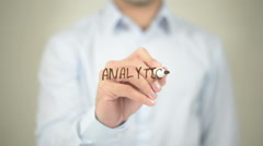 Analytics, man writing on transparent screen - stock footage