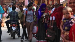Indian people visit the holy city Pushkar , India Stock Footage